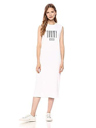 83ec5ec5 Tommy Hilfiger Tommy Jeans Womens T Shirt Dress with Logo, Bright White,  Small