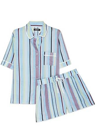 DKNY Striped Crepe De Chine Pajama Set - Light blue