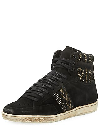 ecac39d19528 Saint Laurent Mens Distressed Ikat Suede High-Top Platform Sneakers