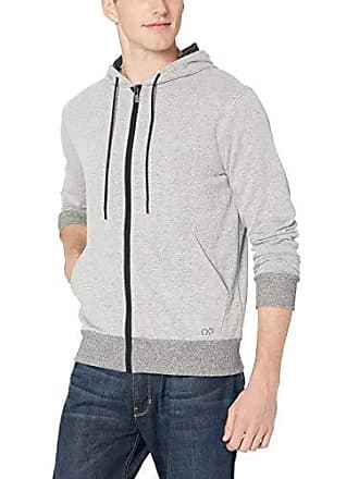 2(x)ist Mens Asymmetrical Hooded Sweatshirt Sweater, Speckled Grey, Large