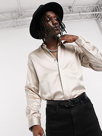Twisted Tailor Camicia skinny in raso champagne-Oro