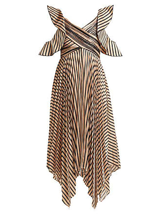 Self Portrait Asymmetric Striped Satin Dress - Womens - Black Gold