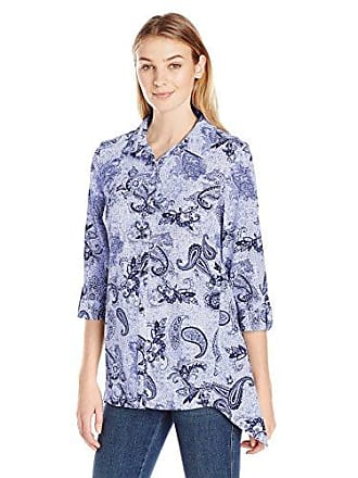 23ad4997 Notations Womens Plus Size Long Rolled to 3/4 Sleeve Printed Y Neck  Sharkbite Blouse