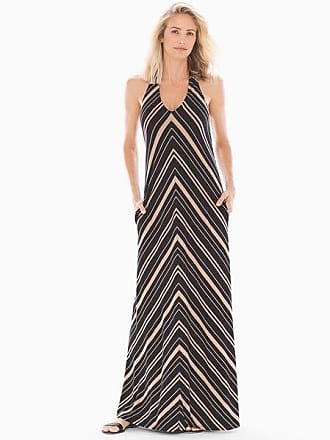 Soma Soft Jersey Halter Tie Maxi Bra Dress, Spa Stripe Black, Size XXL