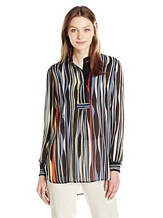Anne Klein Womens Multi Stripe Long Sleeve Poet Blouse, Black/Avocado 8