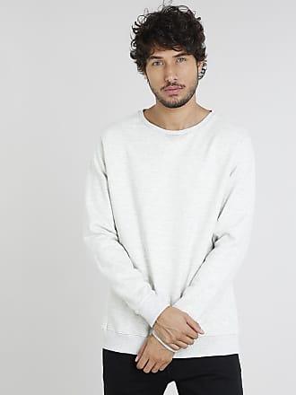 Basics Blusão Masculino Básico Mescla em Moletom Bege Claro
