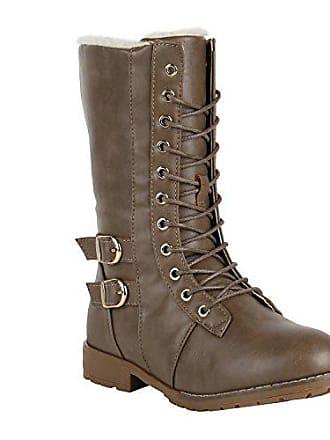 Stiefelparadies Damen Schnürstiefel Warm Gefütterte Stiefel Winter Schuhe  Profil 151608 Khaki Schnallen 40 Flandell 94289bb6e5
