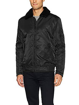 Kenneth Cole Mens Aviator Jacket with Removable Faux Sherpa Collar, Black, X-Large