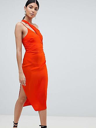 c91c5b1138cc4 Asos Tall Vestito midi in raso martellato con spalline - Arancione