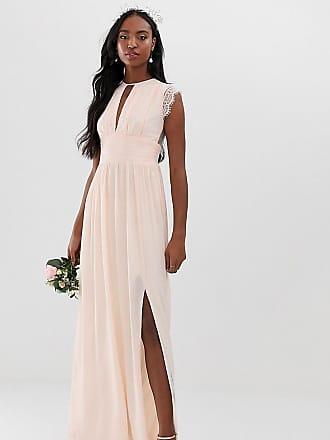 6a52724c Tfnc Tall Vestido largo de dama de honor rosa perla con detalle de encaje  de TFNC