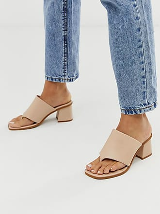 Asos Premium - Hold Up - Sandali in pelle beige con tacco largo