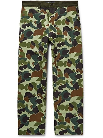Junya Watanabe Cropped Corduroy-trimmed Camouflage-print Cotton-twill Trousers - Green