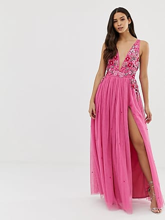 3a9dce0f9179 Dolly   Delicious 3D applique embellished plunge front maxi dress with  thigh split in pink