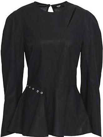 0e5fbcddecad5 Versus Versus Versace Woman Cutout Embellished Cotton-poplin Peplum Top  Black Size 38