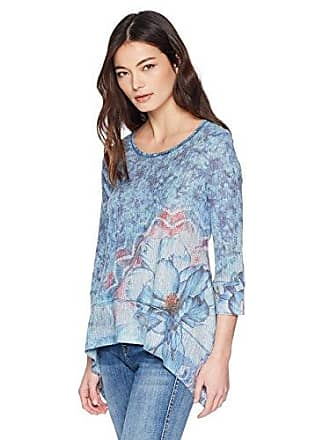 Oneworld Womens Petite 3/4 Sleeve Ribbed Sharkbite Hem Tunic Top, Blooming Melody/Chambray, PL