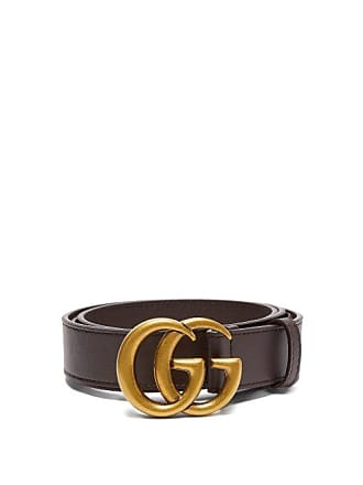 127256678 Gucci Gg Leather Belt - Mens - Brown