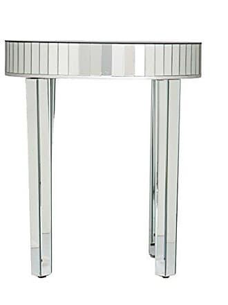 Southern Enterprises Round Mirrored Nesting Table - 2 Pc Set w/Mirror Finish - Glam Style
