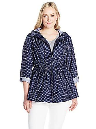 Details Womens Plus Size Lightweight Packable Anorak Parka in A Pocket, Ink Blue Dot, 2X