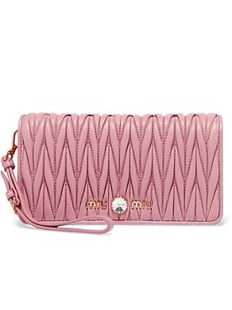 Miu Miu Crystal-embellished Matelassé Leather Clutch - Pink