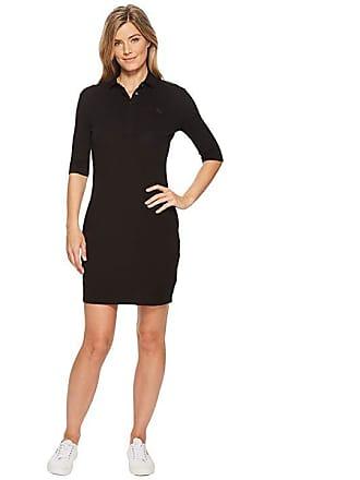 67e0e762a Lacoste 1 4 Sleeve Classic Stretch Mini Pique Polo Dress (Black) Womens  Dress