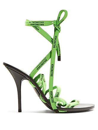 Balenciaga Logo Laced Wrap Around Flat Sandals - Womens - Green