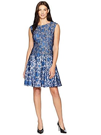 508ad80fb7 Gabby Skye Womens Printed Fit and Flare Dress, Royal/Black, 16