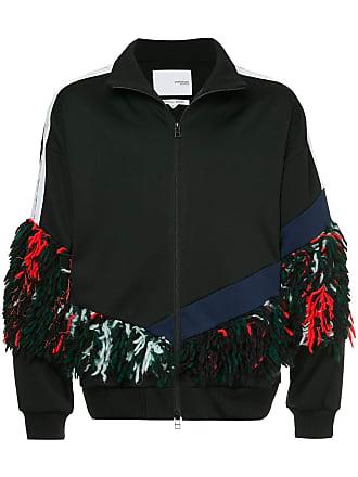 Yoshiokubo fringed track jacket - Brown