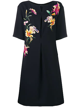Etro embroidered flower dress - Black