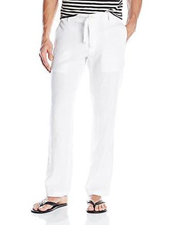 Perry Ellis Mens Drawstring Linen Pant, Bright White, 40