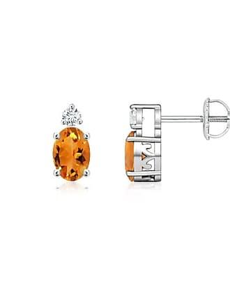 Angara Valentine Day Sale - Basket-Set Oval Citrine Stud Earrings with Diamond