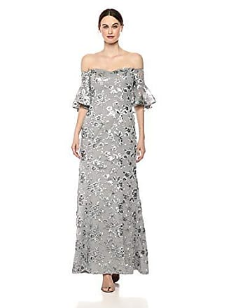0ff848d07efa92 Calvin Klein Womens Off The Shoulder Flutter Sleeve Gown with Side Ruch