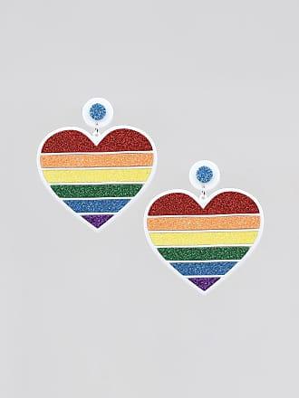 C&A Brinco Feminino Pride Coração Arco-Íris com Glitter Branco
