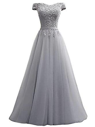 7a66ced03c6406 Clearbridal Damen Ballkleid Prinzessin Abendkleid lang elegant Maxikleid  Schulterfrei mit Spitze C180404 Grau Gr.34