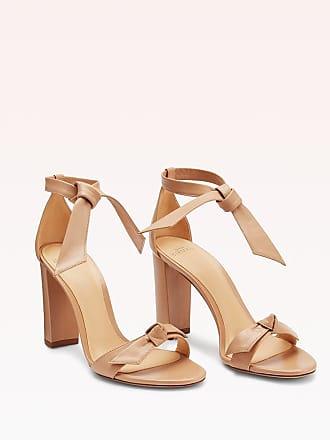 Alexandre Birman Clarita Block 90 Leather Sandal - 35.5 Nude Nappa Leather