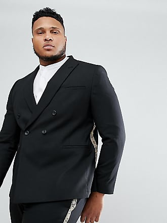 bbcb39160 Asos ASOS PLUS Skinny Double Breasted Suit Jacket In Black With Gold  Brocade Detail