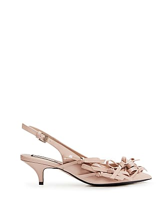 dc325cfac7 N°21 Patent Pointed Bow-Embellished Slingback Kitten Heeled Pumps Nude