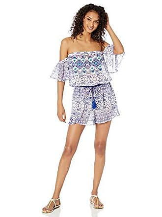 Ramy Brook Womens Printed Ambroise Off The Shoulder Romper, Marina Combo, Small