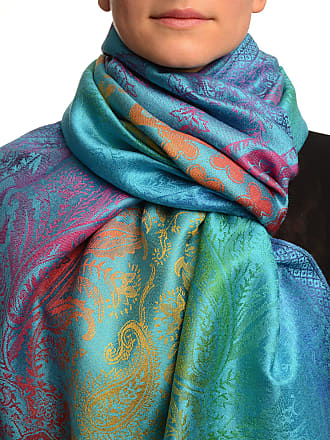 Liss Kiss Large Ombre Paisley & Diamond On Dodger Blue Pashmina Feel With Tassels - Blue Pashmina Floral Scarf