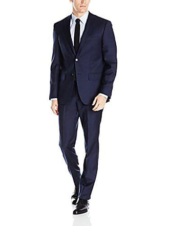 DKNY Mens All Wool Slim Fit Suit, Navy Twill, 36 Short
