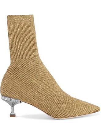 b80e4c288c6f Miu Miu Crystal-embellished Metallic Ribbed-knit Sock Boots - Gold