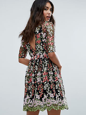 Club L Club L Floral Embroided All Over Skater Dress - Black