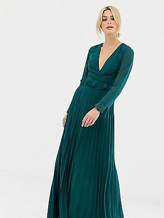 f040deda77b Asos Tall ASOS DESIGN Tall pleated wrap maxi dress with ruffle - Green