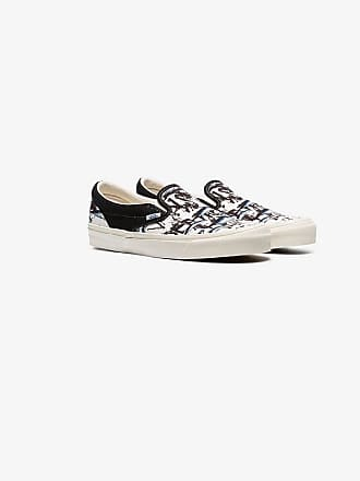 Vans white, black and blue X Ralph Steadman white tuna low top sneakers