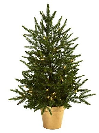 Nearly Natural 5370 2.5-Feet Christmas Tree with Golden Planter and Clear Lights, Green