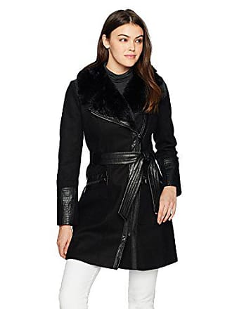 Via Spiga Womens Kate Mid-Length Belted Wool Asymmetric Zip Front Coat with Faux Fur Collar, Black, 2