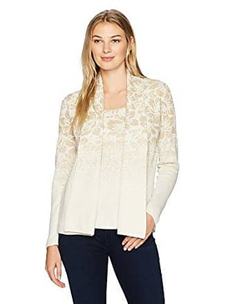 Ruby Rd. Womens Metallic Floral Jacquard Cardigan 2-fer with Tank, Winter White/Gold XLarge