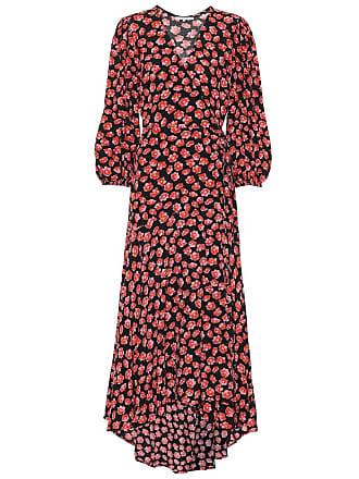 Ganni Printed crêpe wrap dress