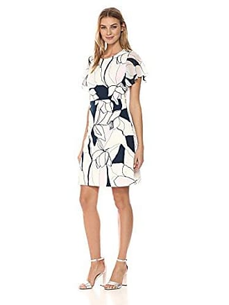 Ivanka Trump Womens Scuba Crepe Georgette Sleeve FIT and Flare Dress, Ivory/Navy, 6