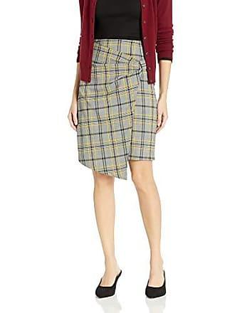Ellen Tracy Womens Bow Front Skirt, Glen Plaid/Citrine 16