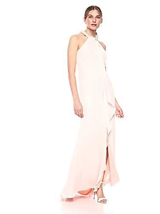 Calvin Klein Womens Halter Neck Gown with Draped Front & Beading, Blossom, 6